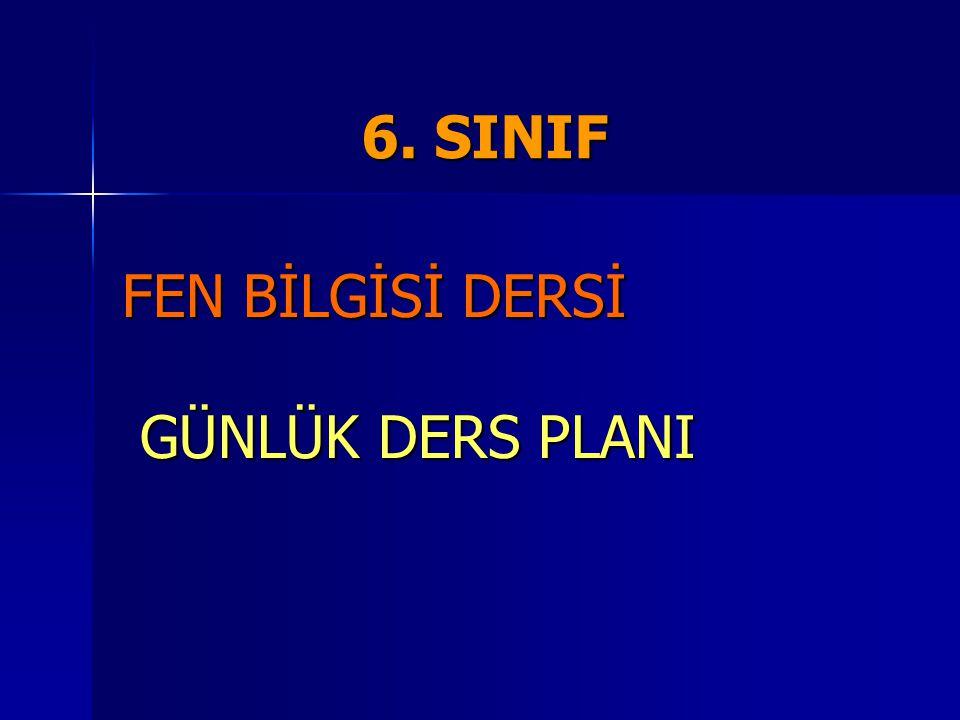 6. SINIF 6. SINIF FEN BİLGİSİ DERSİ GÜNLÜK DERS PLANI