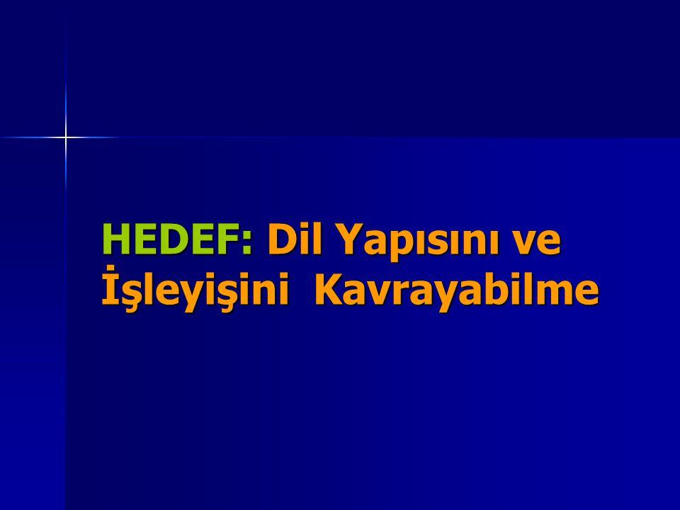 HEDEF: Dil Yapısını ve İşleyişini Kavrayabilme