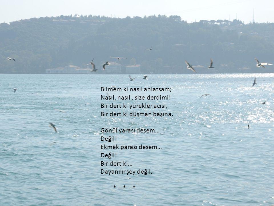 Urumelihisarı'na oturmuşum; Oturmuş da bir türkü tutturmuşum: İstanbul'un mermer taşları; Başıma da konuyor, konuyor aman, martı kuşları… * * *