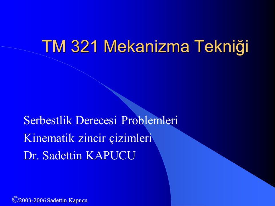 TM 321 Mekanizma Tekniği Serbestlik Derecesi Problemleri Kinematik zincir çizimleri Dr. Sadettin KAPUCU © 2003-2006 Sadettin Kapucu