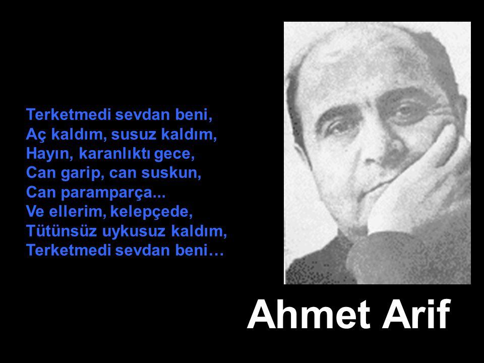 Ahmet Arif Terketmedi sevdan beni, Aç kaldım, susuz kaldım, Hayın, karanlıktı gece, Can garip, can suskun, Can paramparça... Ve ellerim, kelepçede, Tü