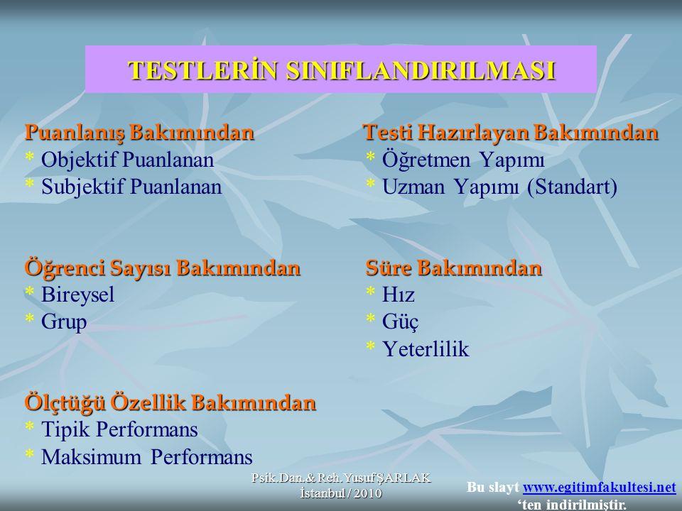 Psik.Dan.& Reh.Yusuf ŞARLAK İstanbul / 2010 TESTLERİN SINIFLANDIRILMASI Puanlanış Bakımından Testi Hazırlayan Bakımından * Objektif Puanlanan * Öğretm