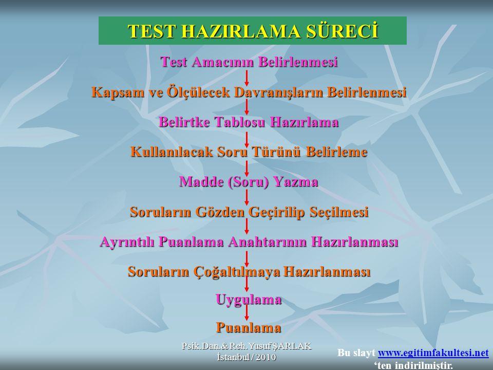 Psik.Dan.& Reh.Yusuf ŞARLAK İstanbul / 2010 Uzun Cevap Gerektiren Maddelerin Üstünlükleri: + + + + + + + Uzun Cevap Gerektiren Maddelerin Üstünlükleri: + Bilişsel öğrenmenin üst düzeydeki (analiz, sentez, değerlendirme) öğrenme ürünlerini ölçmede daha yeterlidir.