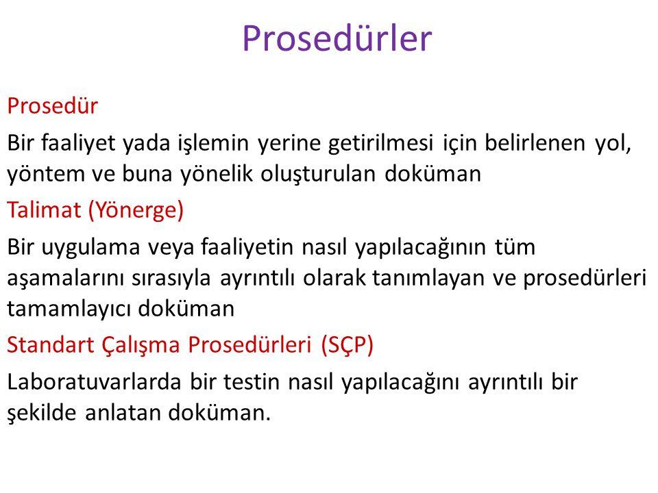 Prosedürler Prosedür Bir faaliyet yada işlemin yerine getirilmesi için belirlenen yol, yöntem ve buna yönelik oluşturulan doküman Talimat (Yönerge) Bi