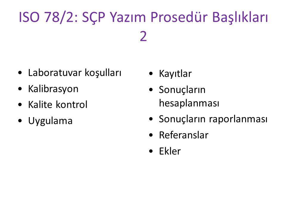 ISO 78/2: SÇP Yazım Prosedür Başlıkları 2 Laboratuvar koşulları Kalibrasyon Kalite kontrol Uygulama Kayıtlar Sonuçların hesaplanması Sonuçların raporl