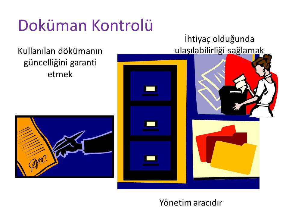 Doküman Kontrolü Kullanılan dökümanın güncelliğini garanti etmek Yönetim aracıdır İhtiyaç olduğunda ulaşılabilirliği sağlamak