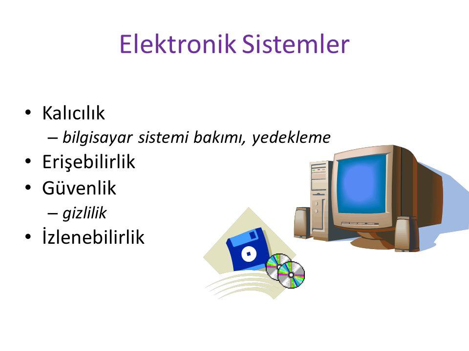 Elektronik Sistemler Kalıcılık – bilgisayar sistemi bakımı, yedekleme Erişebilirlik Güvenlik – gizlilik İzlenebilirlik