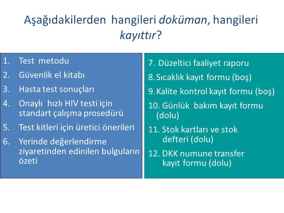 1.Test metodu 2.Güvenlik el kitabı 3.Hasta test sonuçları 4.Onaylı hızlı HIV testi için standart çalışma prosedürü 5.Test kitleri için üretici önerile