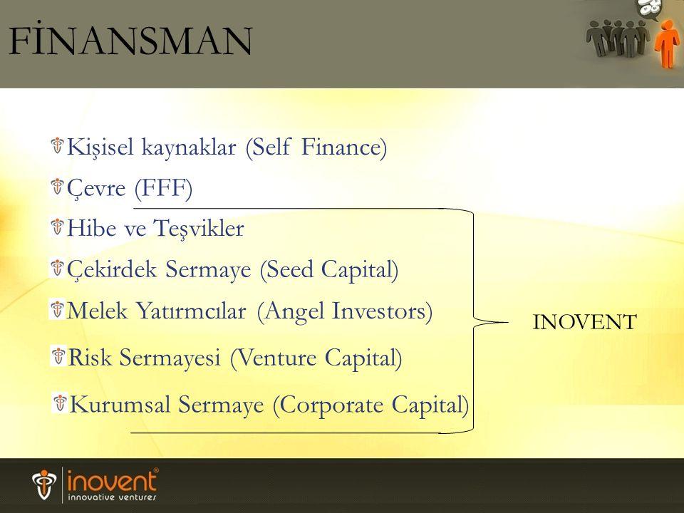 Çevre (FFF) Kişisel kaynaklar (Self Finance) Hibe ve Teşvikler Çekirdek Sermaye (Seed Capital) Melek Yatırmcılar (Angel Investors) Risk Sermayesi (Venture Capital) Kurumsal Sermaye (Corporate Capital) INOVENT FİNANSMAN