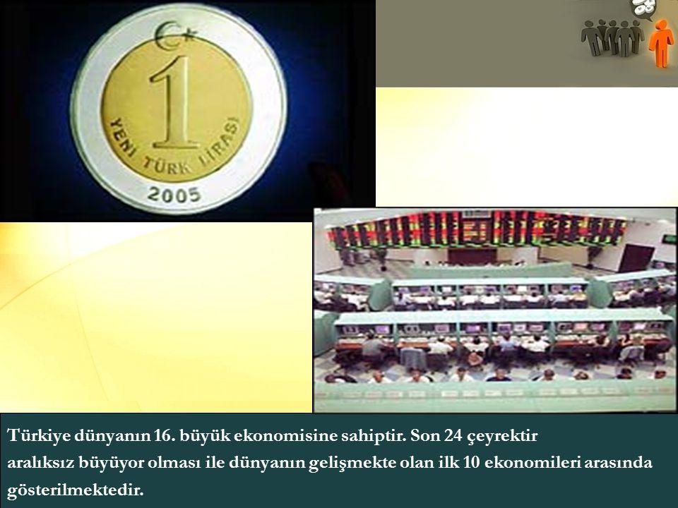 Türkiye dünyanın 16. büyük ekonomisine sahiptir. Son 24 çeyrektir aralıksız büyüyor olması ile dünyanın gelişmekte olan ilk 10 ekonomileri arasında gö