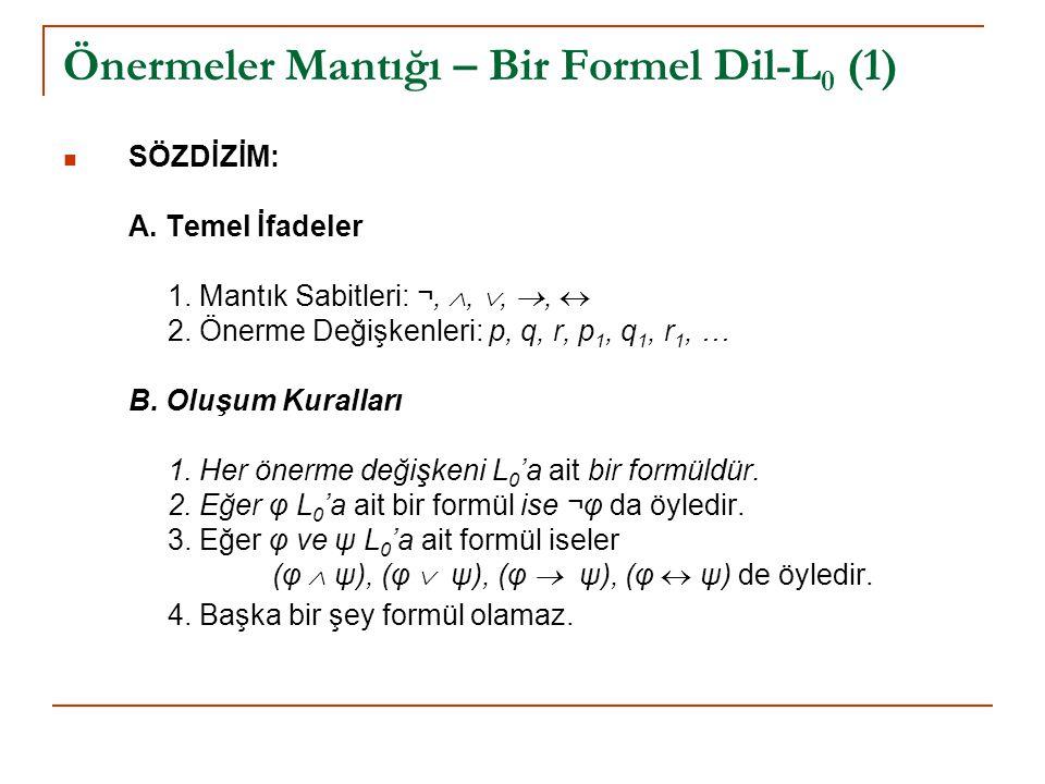 Önermeler Mantığı – Bir Formel Dil-L 0 (2) L 0 için bir BNF (Backus-Naur Form) Gramer: Formül  p | q | r | p 1 | q 1 | r 1 | … Formül  ¬ Formül | ( Formül  Formül ) | ( Formül  Formül ) | ( Formül  Formül ) | ( Formül  Formül )