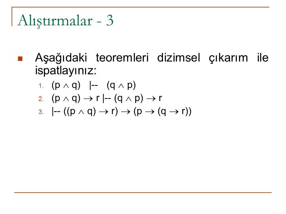 Alıştırmalar - 3 Aşağıdaki teoremleri dizimsel çıkarım ile ispatlayınız: 1.