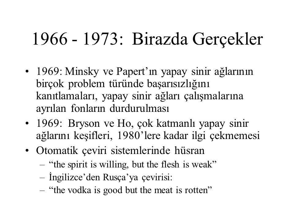 1966 - 1973: Birazda Gerçekler 1969: Minsky ve Papert'ın yapay sinir ağlarının birçok problem türünde başarısızlığını kanıtlamaları, yapay sinir ağları çalışmalarına ayrılan fonların durdurulması 1969: Bryson ve Ho, çok katmanlı yapay sinir ağlarını keşifleri, 1980'lere kadar ilgi çekmemesi Otomatik çeviri sistemlerinde hüsran – the spirit is willing, but the flesh is weak –İngilizce'den Rusça'ya çevirisi: – the vodka is good but the meat is rotten