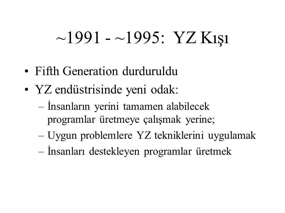 ~1991 - ~1995: YZ Kışı Fifth Generation durduruldu YZ endüstrisinde yeni odak: –İnsanların yerini tamamen alabilecek programlar üretmeye çalışmak yerine; –Uygun problemlere YZ tekniklerini uygulamak –İnsanları destekleyen programlar üretmek