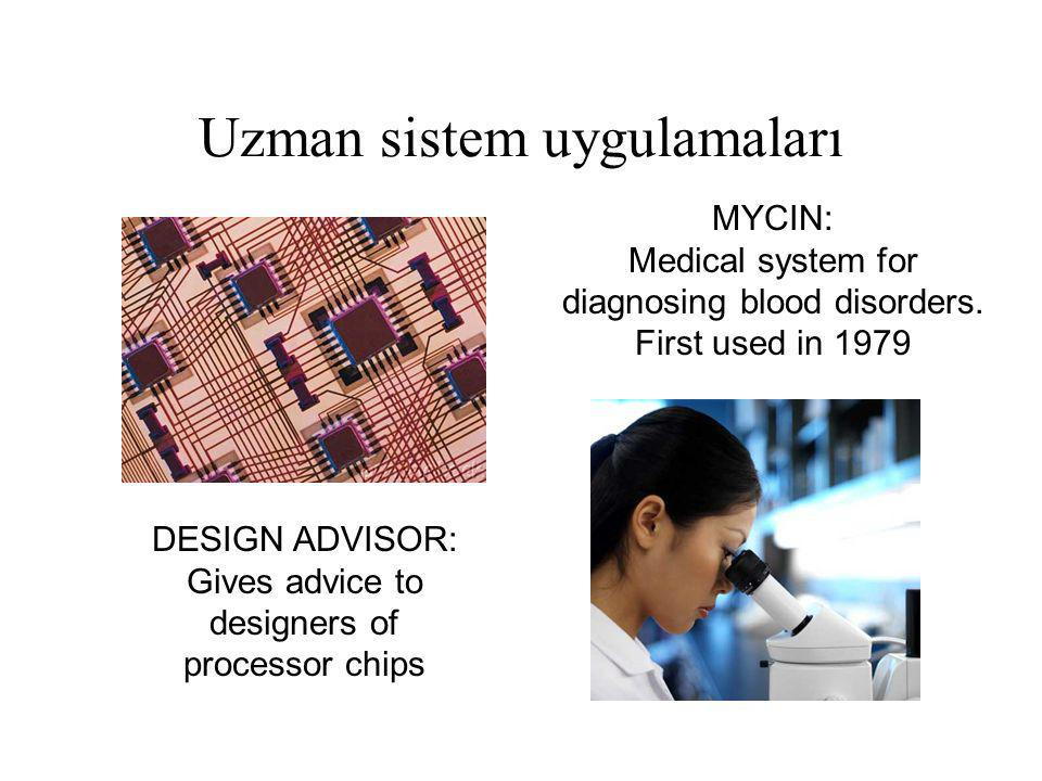 Uzman sistem uygulamaları DESIGN ADVISOR: Gives advice to designers of processor chips MYCIN: Medical system for diagnosing blood disorders. First use