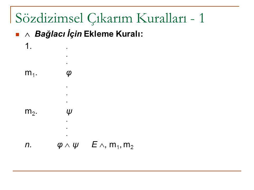 Sözdizimsel Çıkarım Kuralları - 1  Bağlacı İçin Ekleme Kuralı: 1... m 1.φ. m 2.ψ. n. φ  ψ E , m 1, m 2