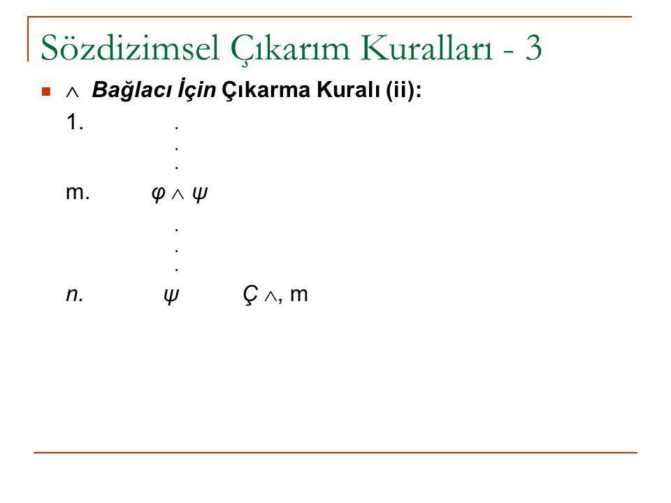 Sözdizimsel Çıkarım Kuralları - 3  Bağlacı İçin Çıkarma Kuralı (ii): 1... m. φ  ψ. n. ψ Ç , m