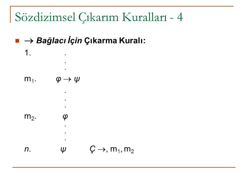 Sözdizimsel Çıkarım Kuralları - 4  Bağlacı İçin Çıkarma Kuralı: 1... m 1. φ  ψ. m 2. φ. n. ψ Ç , m 1, m 2