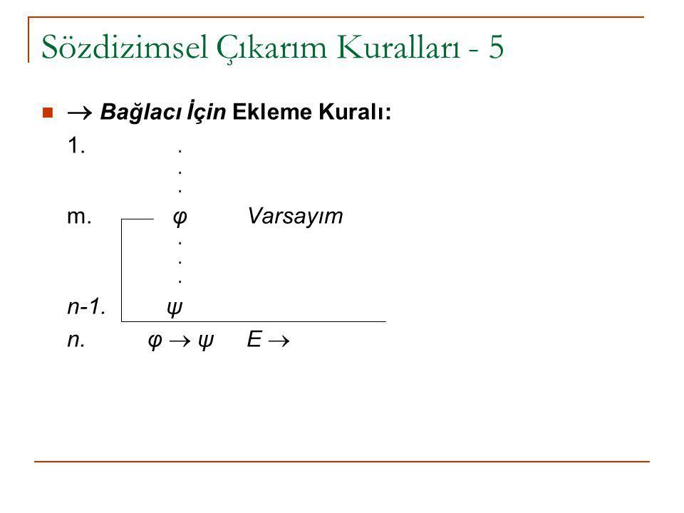 Sözdizimsel Çıkarım Kuralları - 5  Bağlacı İçin Ekleme Kuralı: 1... m. φVarsayım. n-1. ψ n. φ  ψ E 