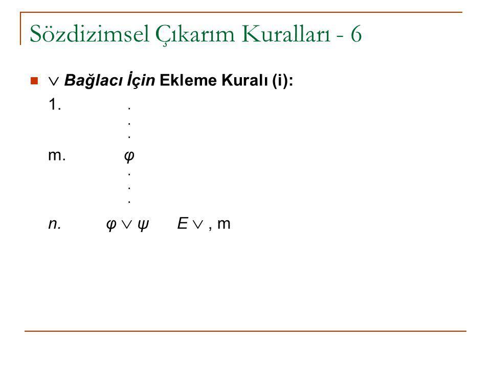 Sözdizimsel Çıkarım Kuralları - 6  Bağlacı İçin Ekleme Kuralı (i): 1... m. φ. n. φ  ψ E , m