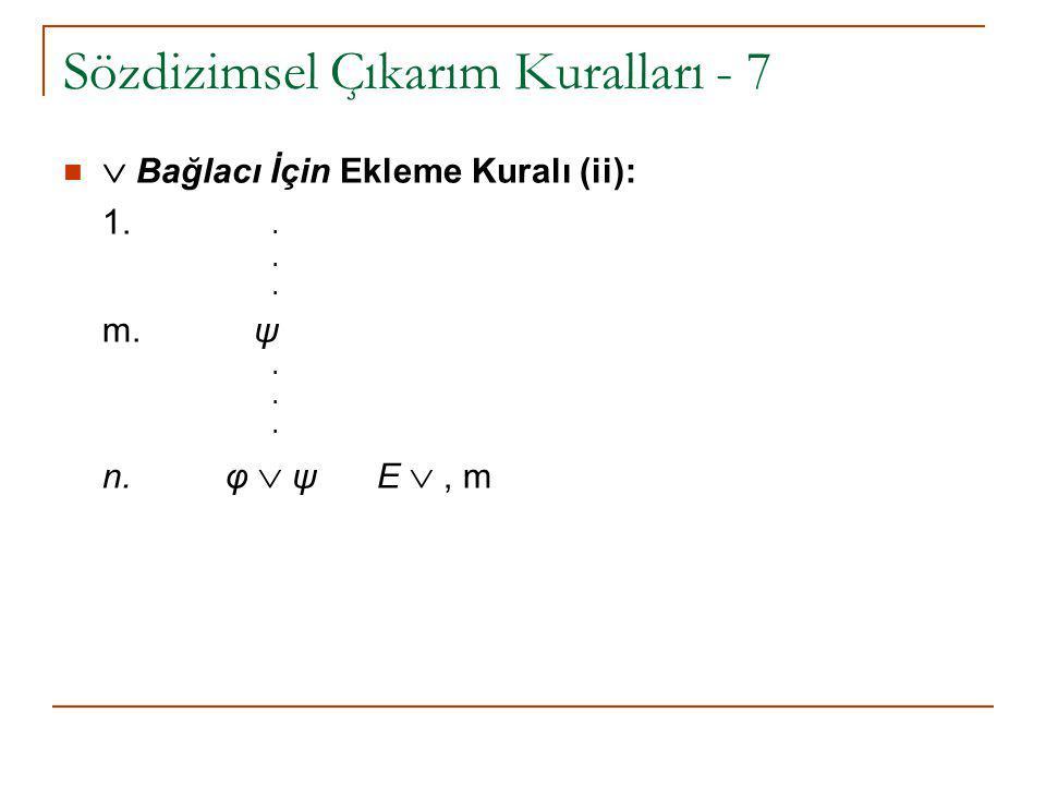 Sözdizimsel Çıkarım Kuralları - 7  Bağlacı İçin Ekleme Kuralı (ii): 1... m. ψ. n. φ  ψ E , m