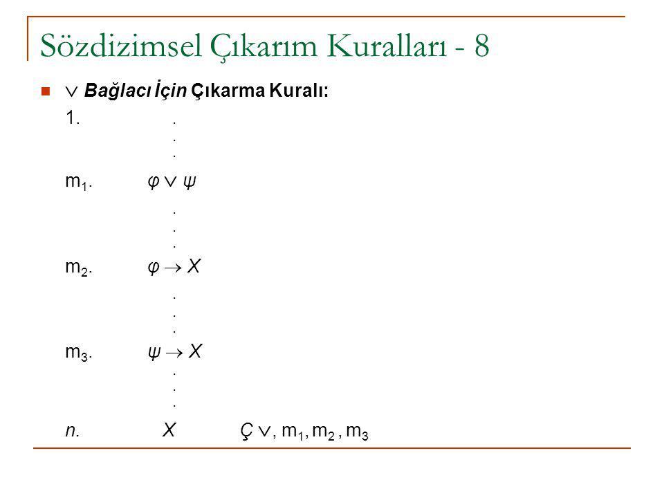 Sözdizimsel Çıkarım Kuralları - 8  Bağlacı İçin Çıkarma Kuralı: 1... m 1. φ  ψ. m 2. φ  X. m 3. ψ  X. n. X Ç , m 1, m 2, m 3