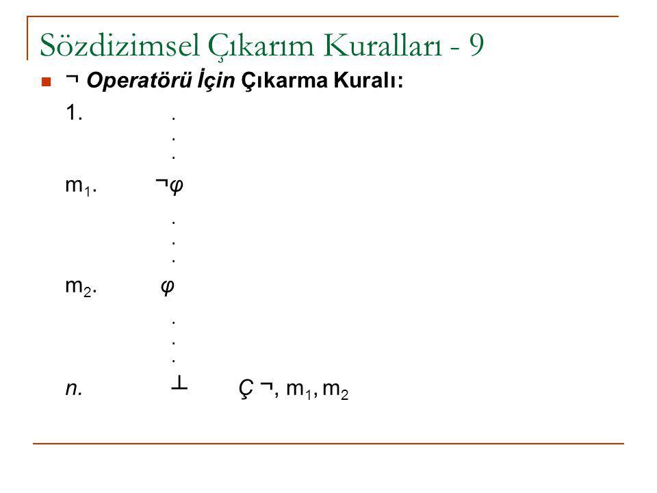 Sözdizimsel Çıkarım Kuralları - 9 ¬ Operatörü İçin Çıkarma Kuralı: 1... m 1. ¬ φ. m 2. φ. n. ┴ Ç ¬, m 1, m 2