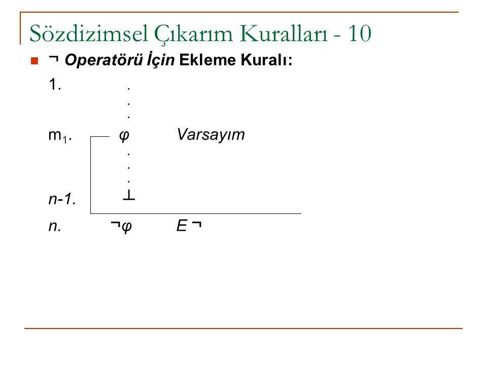 Sözdizimsel Çıkarım Kuralları - 10 ¬ Operatörü İçin Ekleme Kuralı: 1... m 1. φ Varsayım. n-1. ┴ n. ¬ φ E ¬