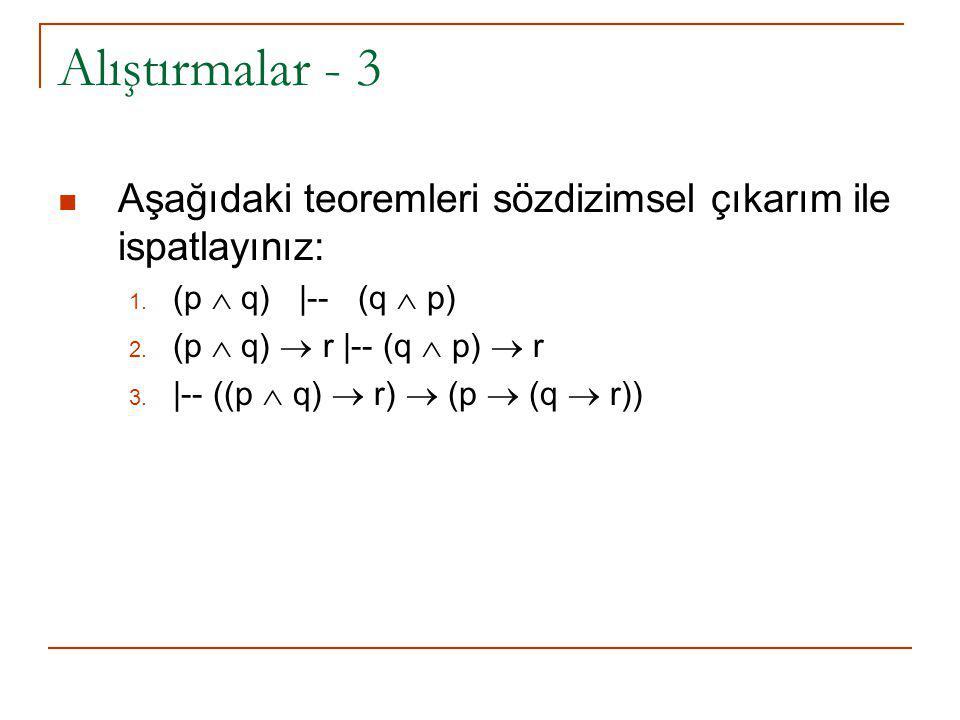 Alıştırmalar - 3 Aşağıdaki teoremleri sözdizimsel çıkarım ile ispatlayınız: 1. (p  q) |-- (q  p) 2. (p  q)  r |-- (q  p)  r 3. |-- ((p  q)  r)