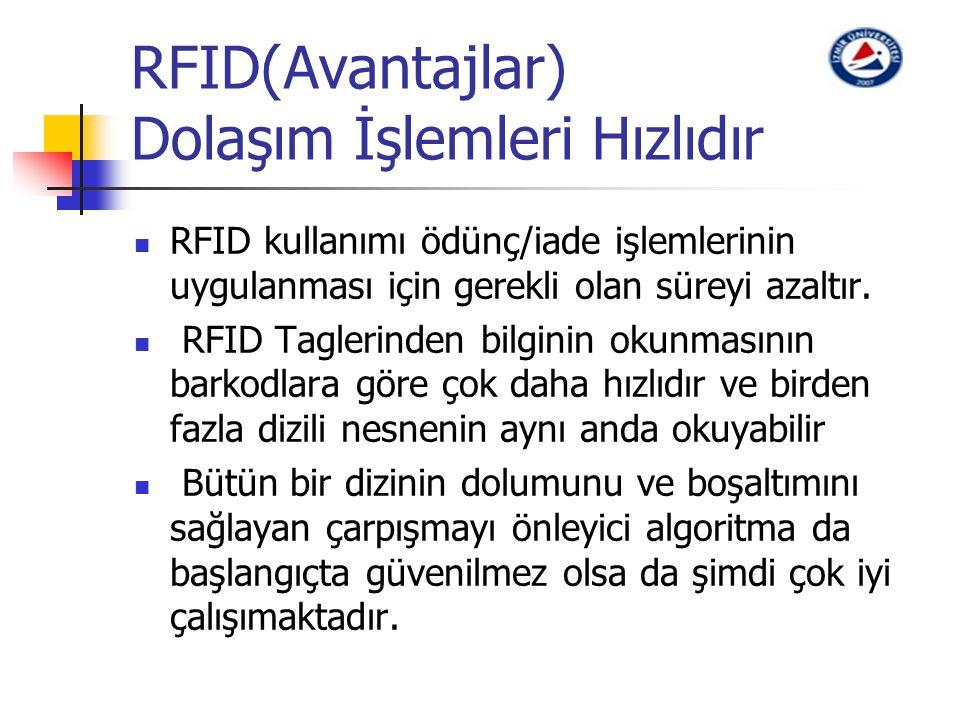 RFID(Avantajlar) Dolaşım İşlemleri Hızlıdır RFID kullanımı ödünç/iade işlemlerinin uygulanması için gerekli olan süreyi azaltır. RFID Taglerinden bilg