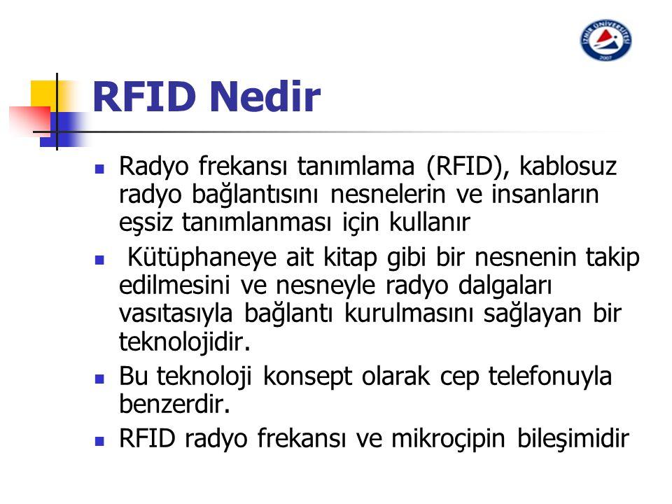 RFID Nedir Radyo frekansı tanımlama (RFID), kablosuz radyo bağlantısını nesnelerin ve insanların eşsiz tanımlanması için kullanır Kütüphaneye ait kita