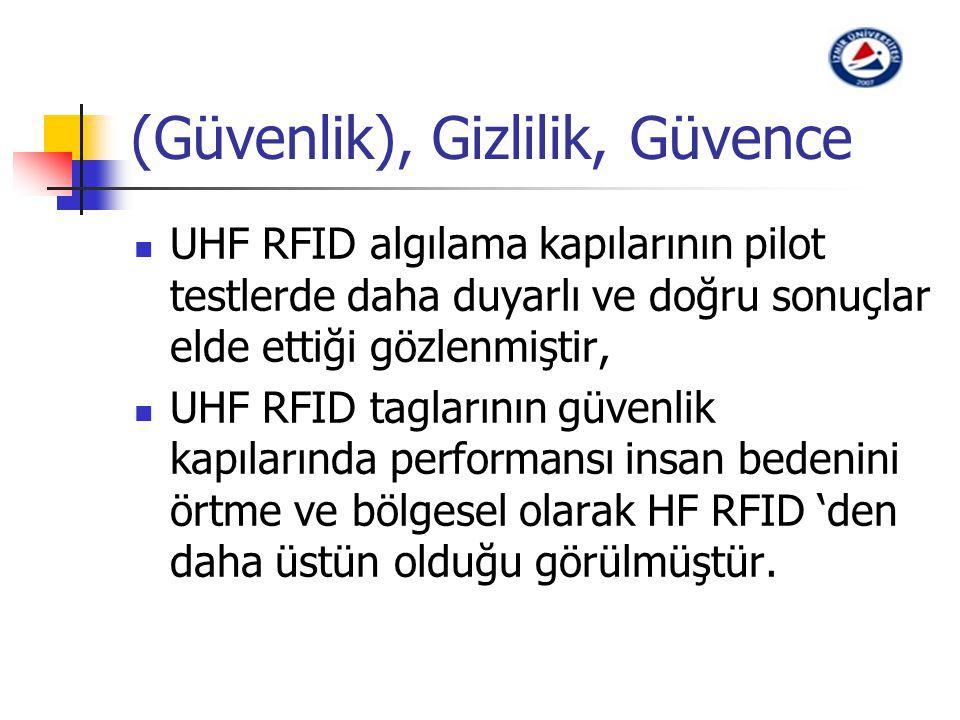 (Güvenlik), Gizlilik, Güvence UHF RFID algılama kapılarının pilot testlerde daha duyarlı ve doğru sonuçlar elde ettiği gözlenmiştir, UHF RFID tagların