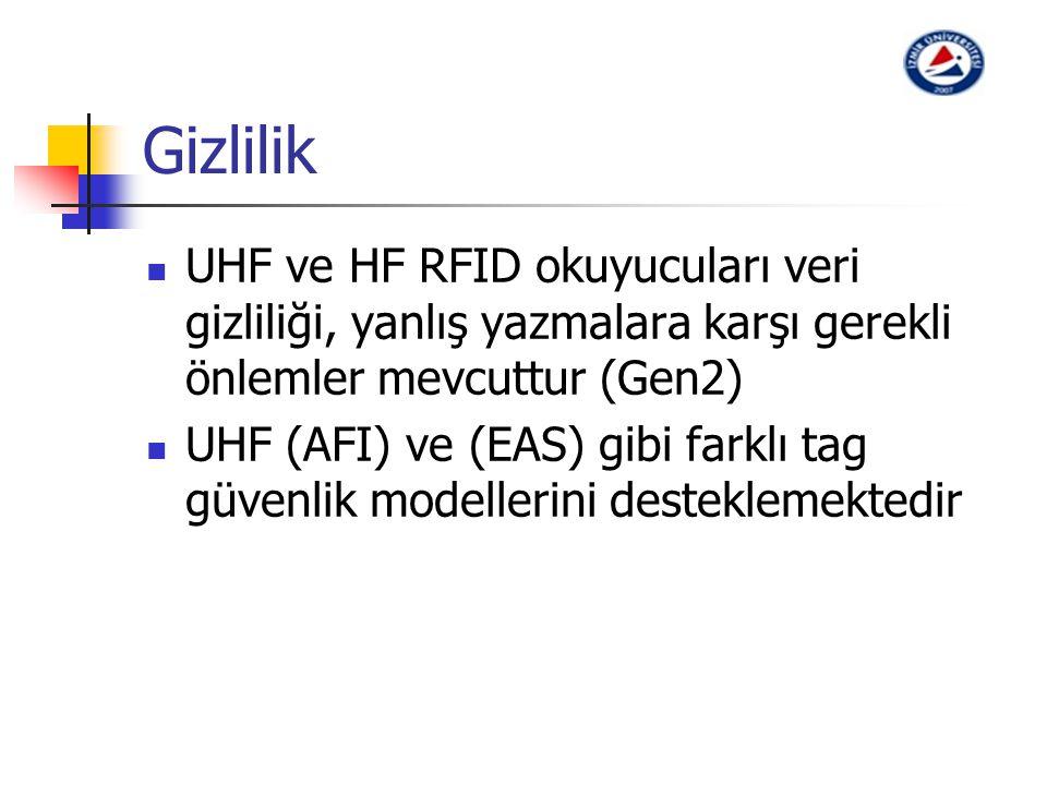 Gizlilik UHF ve HF RFID okuyucuları veri gizliliği, yanlış yazmalara karşı gerekli önlemler mevcuttur (Gen2) UHF (AFI) ve (EAS) gibi farklı tag güvenl