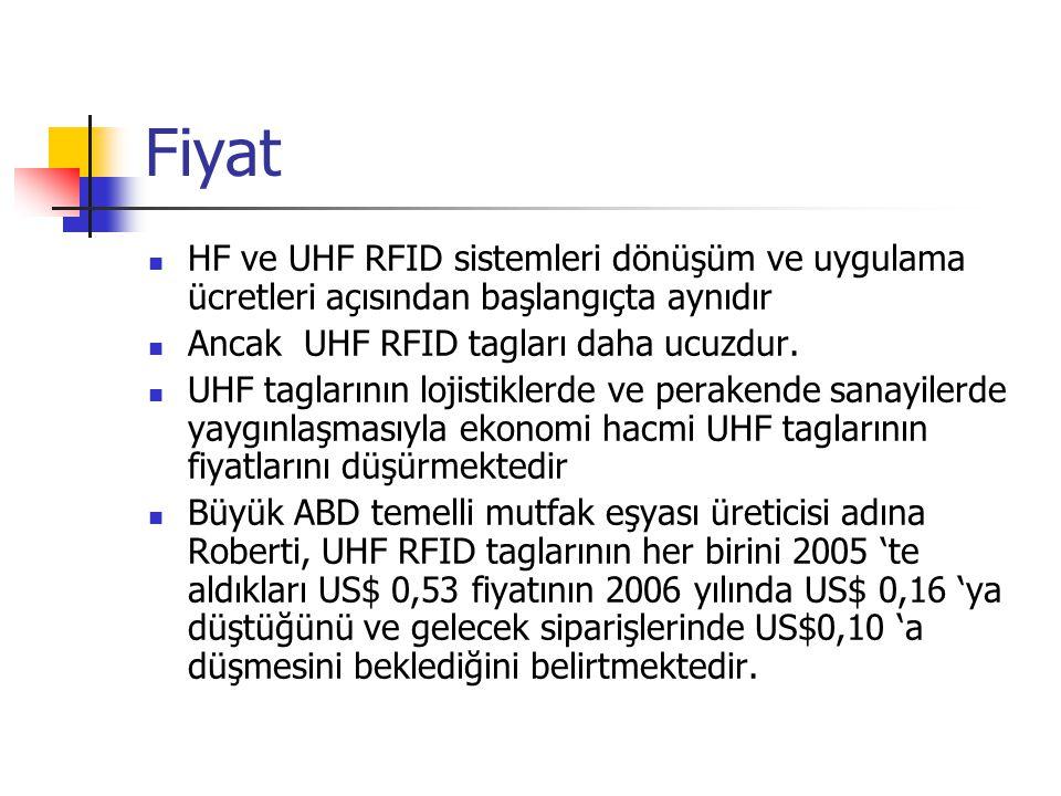 Fiyat HF ve UHF RFID sistemleri dönüşüm ve uygulama ücretleri açısından başlangıçta aynıdır Ancak UHF RFID tagları daha ucuzdur. UHF taglarının lojist