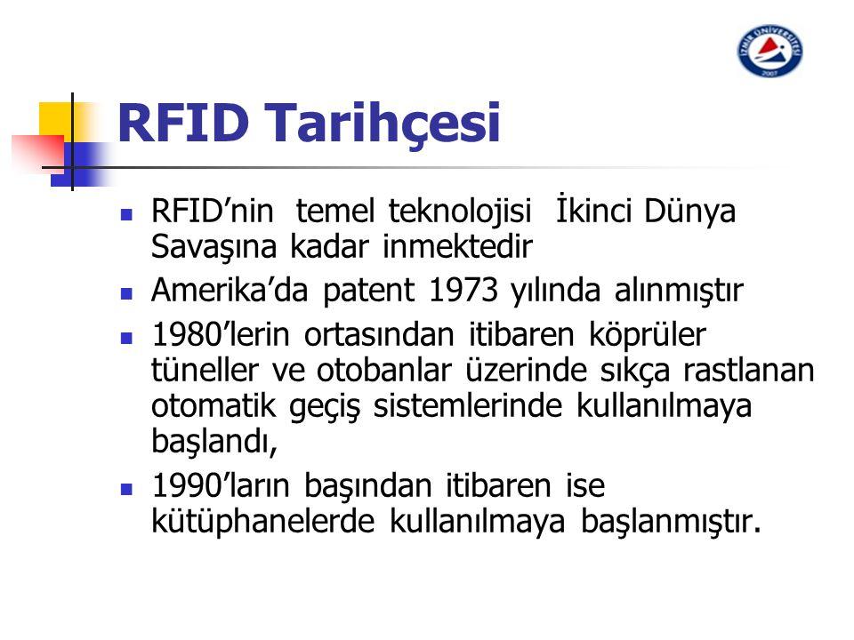 RFID Tarihçesi RFID'nin temel teknolojisi İkinci Dünya Savaşına kadar inmektedir Amerika'da patent 1973 yılında alınmıştır 1980'lerin ortasından itiba