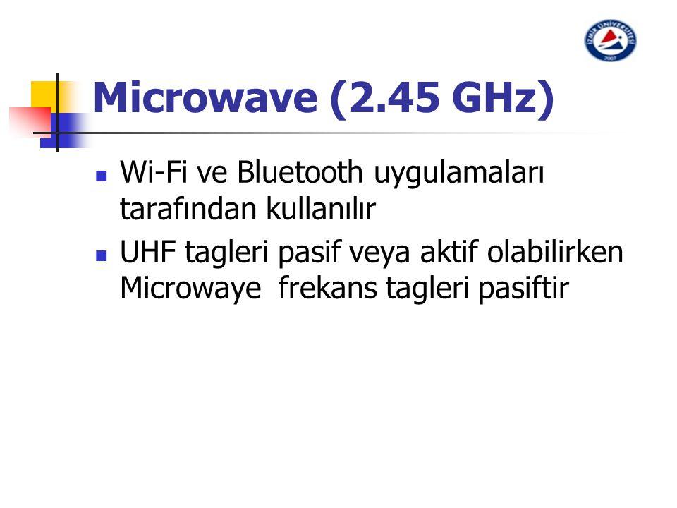 Microwave (2.45 GHz) Wi-Fi ve Bluetooth uygulamaları tarafından kullanılır UHF tagleri pasif veya aktif olabilirken Microwaye frekans tagleri pasiftir