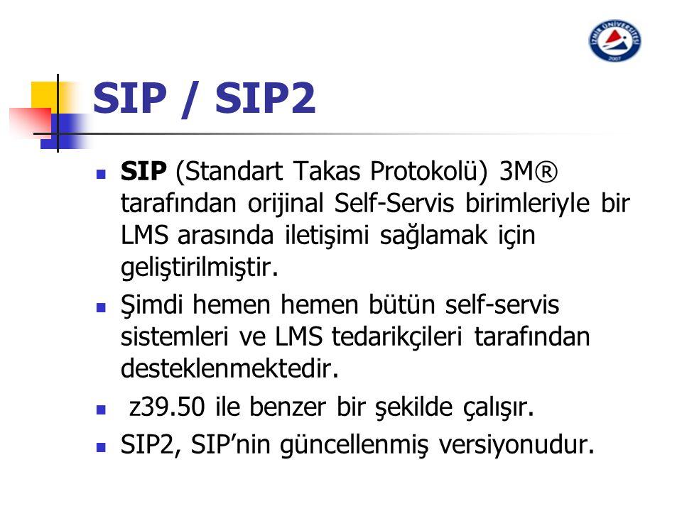 SIP / SIP2 SIP (Standart Takas Protokolü) 3M® tarafından orijinal Self-Servis birimleriyle bir LMS arasında iletişimi sağlamak için geliştirilmiştir.