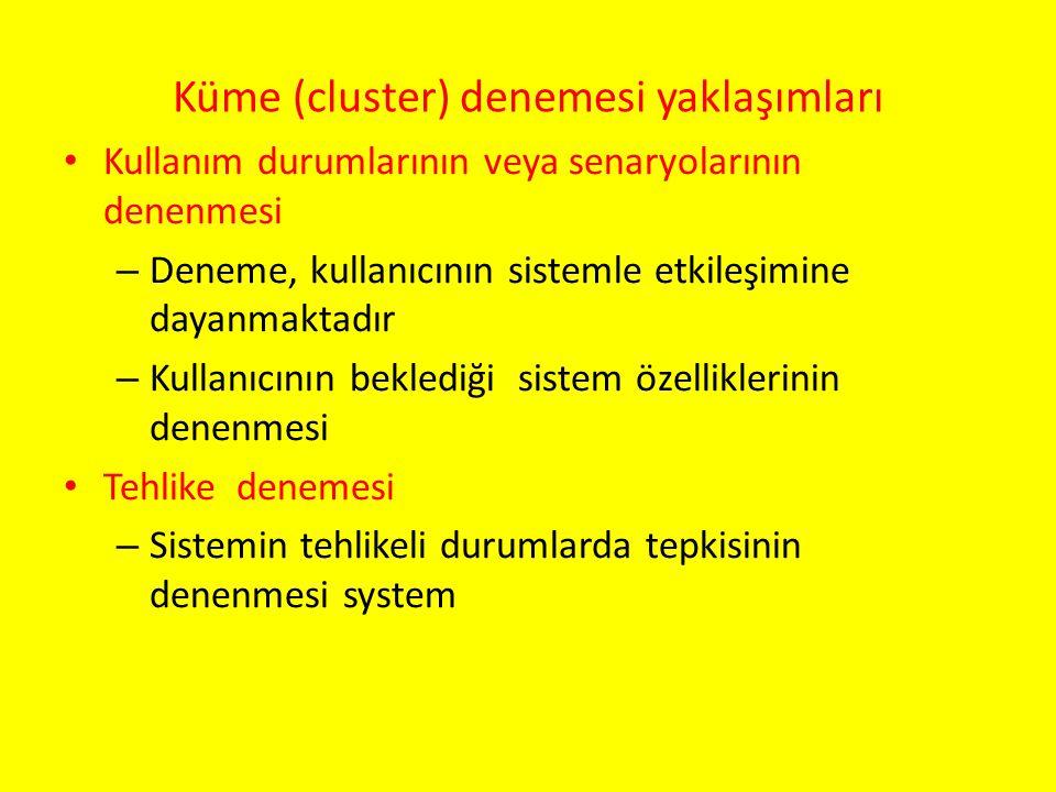 Küme (cluster) denemesi yaklaşımları Kullanım durumlarının veya senaryolarının denenmesi – Deneme, kullanıcının sistemle etkileşimine dayanmaktadır –