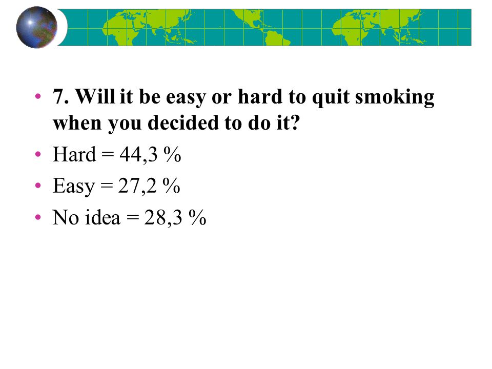 7.Will it be easy or hard to quit smoking when you decided to do it.