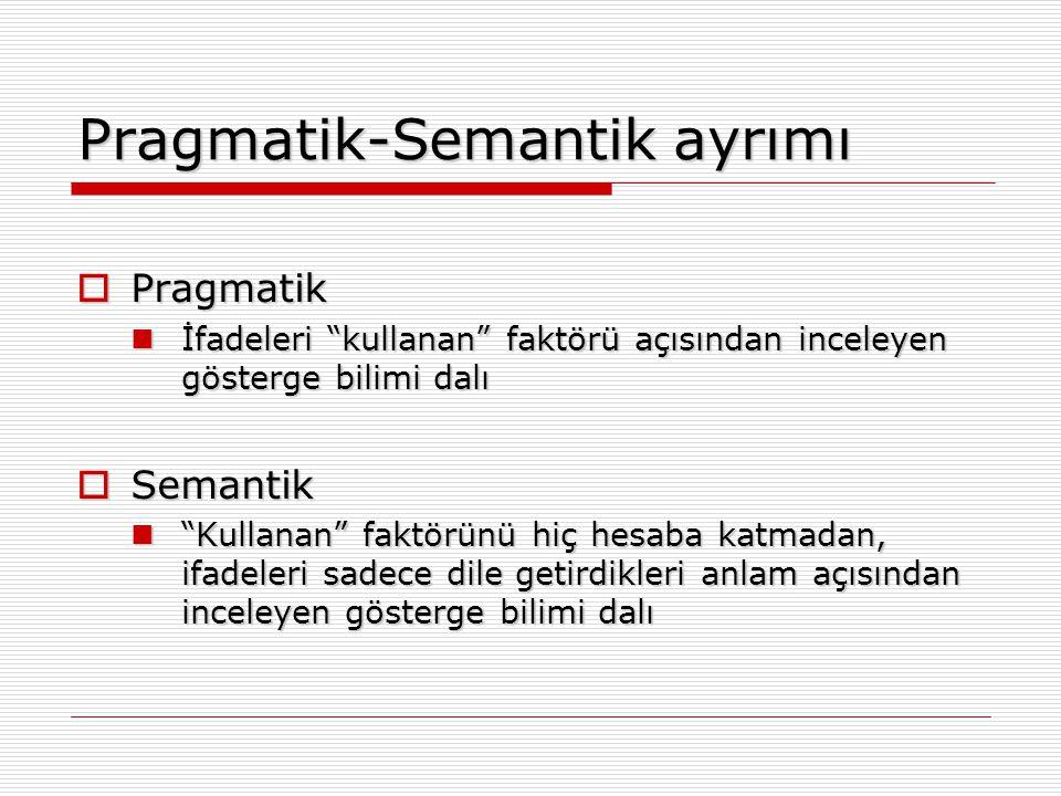 """Pragmatik-Semantik ayrımı  Pragmatik İfadeleri """"kullanan"""" faktörü açısından inceleyen gösterge bilimi dalı İfadeleri """"kullanan"""" faktörü açısından inc"""