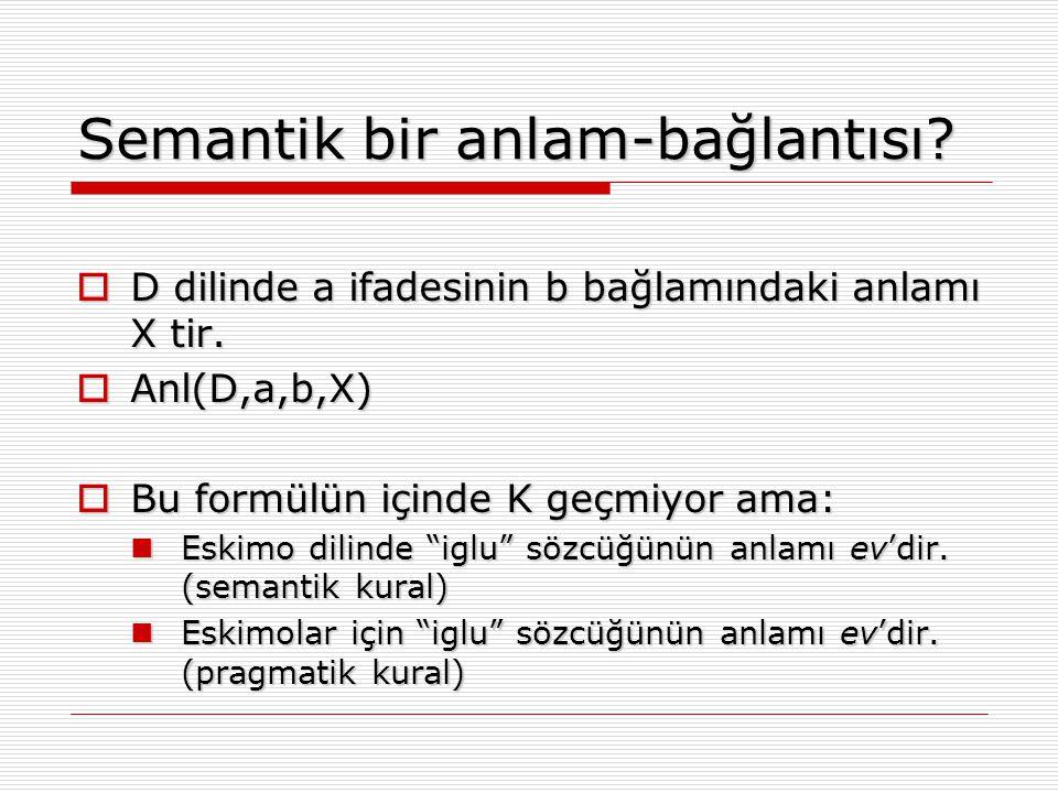 Semantik bir anlam-bağlantısı?  D dilinde a ifadesinin b bağlamındaki anlamı X tir.  Anl(D,a,b,X)  Bu formülün içinde K geçmiyor ama: Eskimo dilind