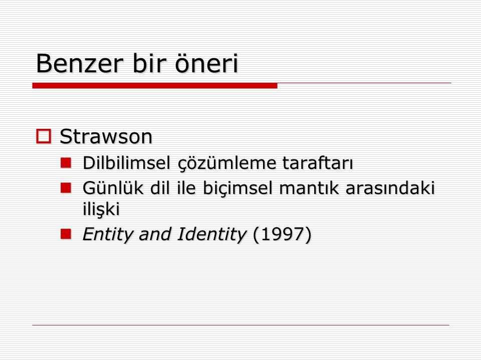 Benzer bir öneri  Strawson Dilbilimsel çözümleme taraftarı Dilbilimsel çözümleme taraftarı Günlük dil ile biçimsel mantık arasındaki ilişki Günlük di