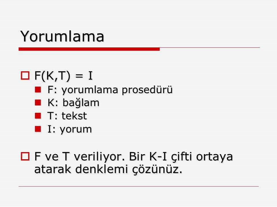 Yorumlama  F(K,T) = I F: yorumlama prosedürü F: yorumlama prosedürü K: bağlam K: bağlam T: tekst T: tekst I: yorum I: yorum  F ve T veriliyor. Bir K
