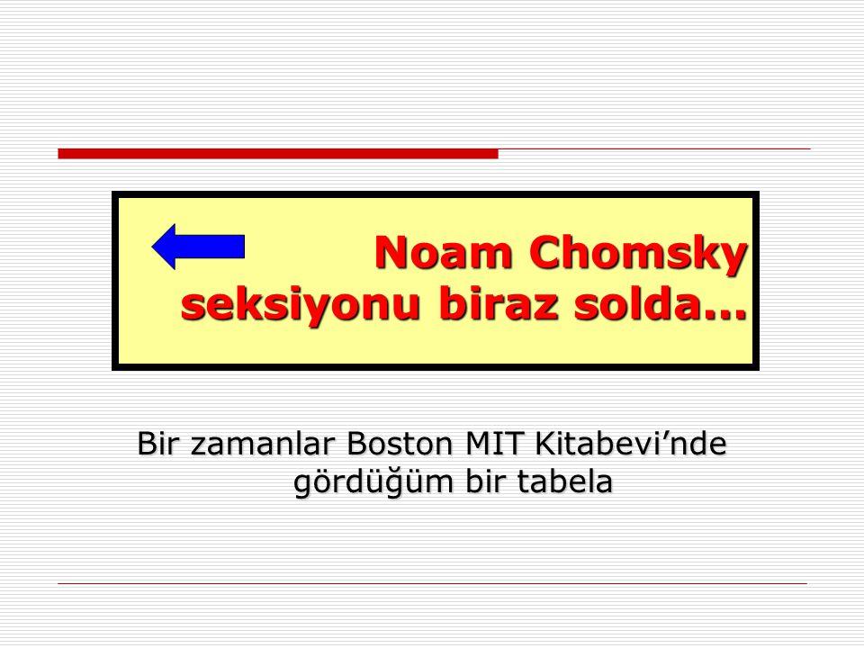 Noam Chomsky seksiyonu biraz solda... Bir zamanlar Boston MIT Kitabevi'nde gördüğüm bir tabela