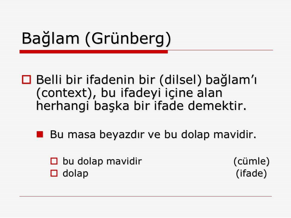 Bağlam (Grünberg)  Belli bir ifadenin bir (dilsel) bağlam'ı (context), bu ifadeyi içine alan herhangi başka bir ifade demektir. Bu masa beyazdır ve b