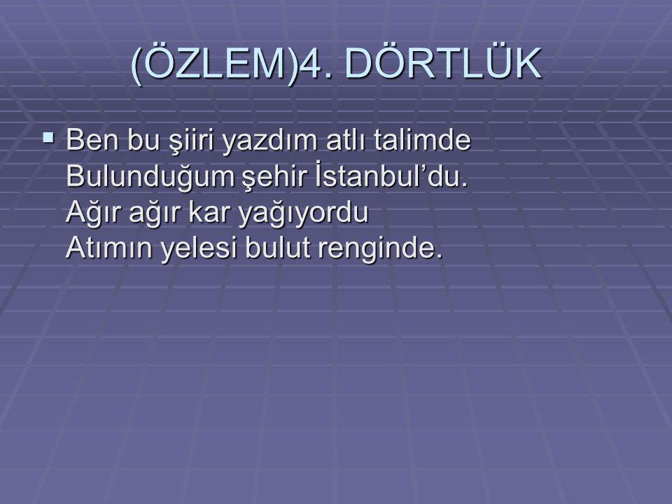 (ÖZLEM)4.DÖRTLÜK  Ben bu şiiri yazdım atlı talimde Bulunduğum şehir İstanbul'du.