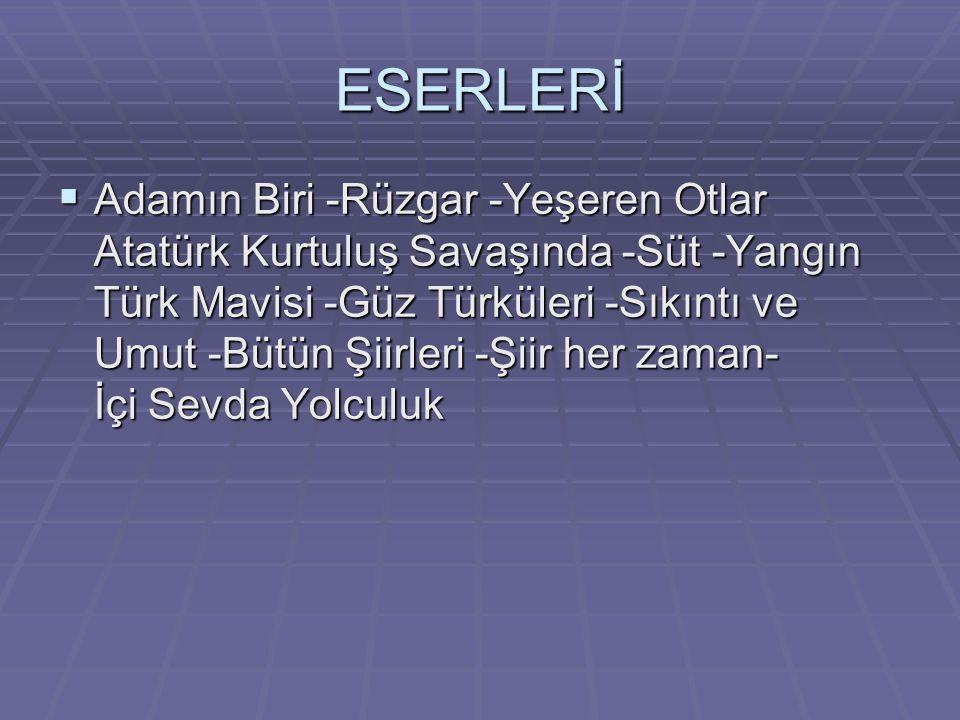 ESERLERİ  Adamın Biri -Rüzgar -Yeşeren Otlar Atatürk Kurtuluş Savaşında -Süt -Yangın Türk Mavisi -Güz Türküleri -Sıkıntı ve Umut -Bütün Şiirleri -Şiir her zaman- İçi Sevda Yolculuk