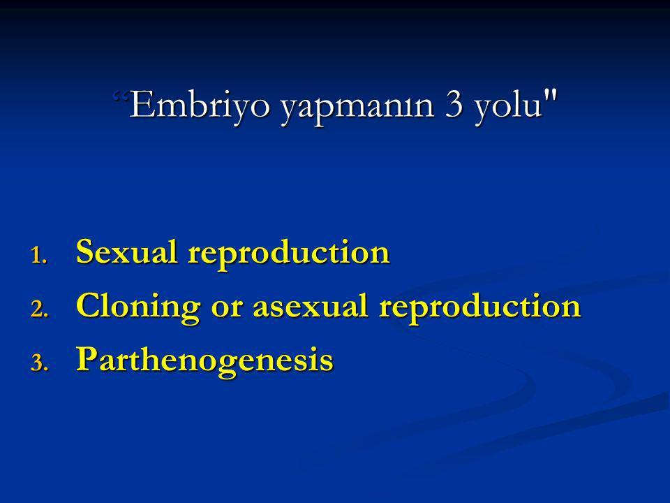Embriyo yapmanın 3 yolu 1.Sexual reproduction 2.