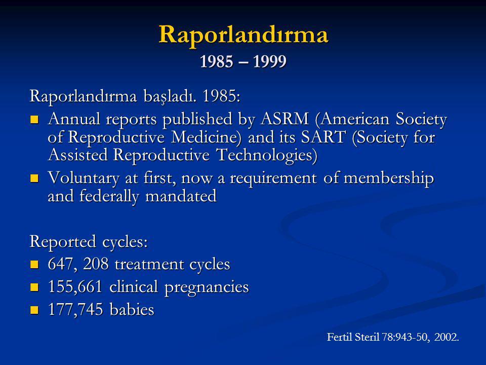 Gebelik oranları Clinical Pregnancy / Transfer Fertil Steril 78:943-50, 2002.