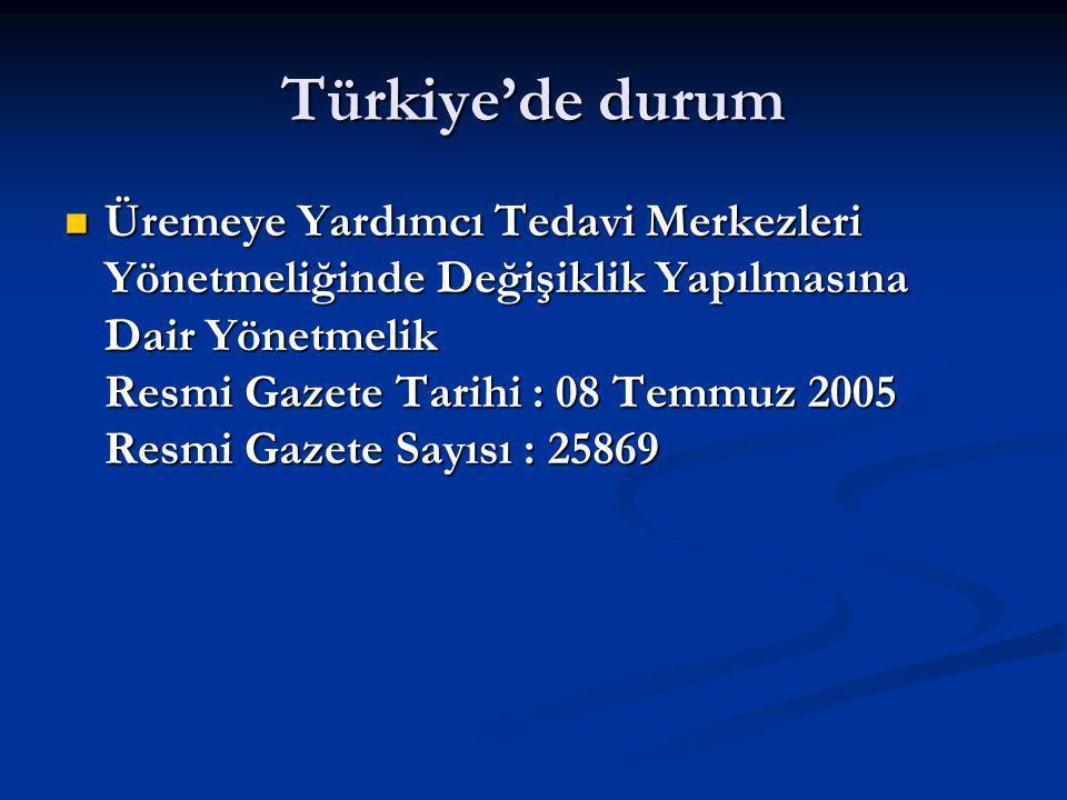 Türkiye'de durum Üremeye Yardımcı Tedavi Merkezleri Yönetmeliğinde Değişiklik Yapılmasına Dair Yönetmelik Resmi Gazete Tarihi : 08 Temmuz 2005 Resmi Gazete Sayısı : 25869 Üremeye Yardımcı Tedavi Merkezleri Yönetmeliğinde Değişiklik Yapılmasına Dair Yönetmelik Resmi Gazete Tarihi : 08 Temmuz 2005 Resmi Gazete Sayısı : 25869